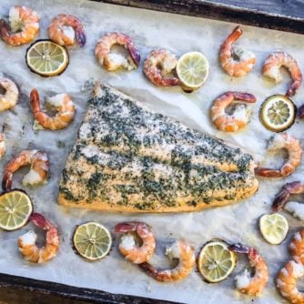 Roast Salmon and Shrimp with Dill Garlic and Lemon Rub