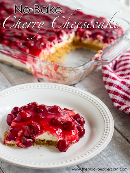 No Bake Cherry Cheesecake Recipe with cool whip