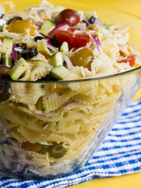 california pasta salad, zucchini, tomatoes, Italian dressing