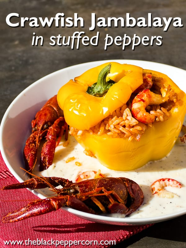 Sweet peppers stuffed with crawfish jambalaya and served with country gravy. Cajun and creole cooking with crawdads/mudbugs.