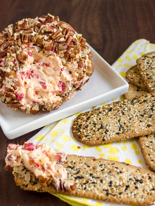 Cream cheese pecan ball spread appetizer