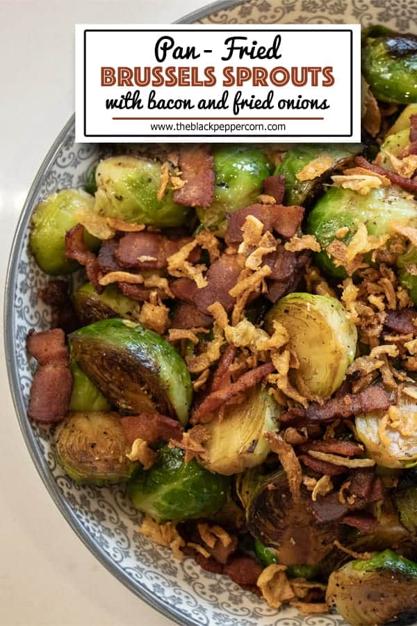 Pan Fried Brussels Sprouts with Bacon - How to cook brussels sprouts in a pan on the stove with crumbled bacon and crispy fried onions using this simple recipe. A delicious side dish with browned caramelized brussels sprouts that taste similar to being roasted.
