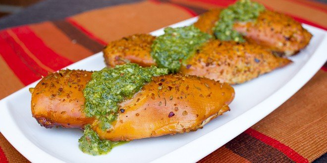 Smoked Chicken Breast With Cheese Filling And Chimichurri Sauce