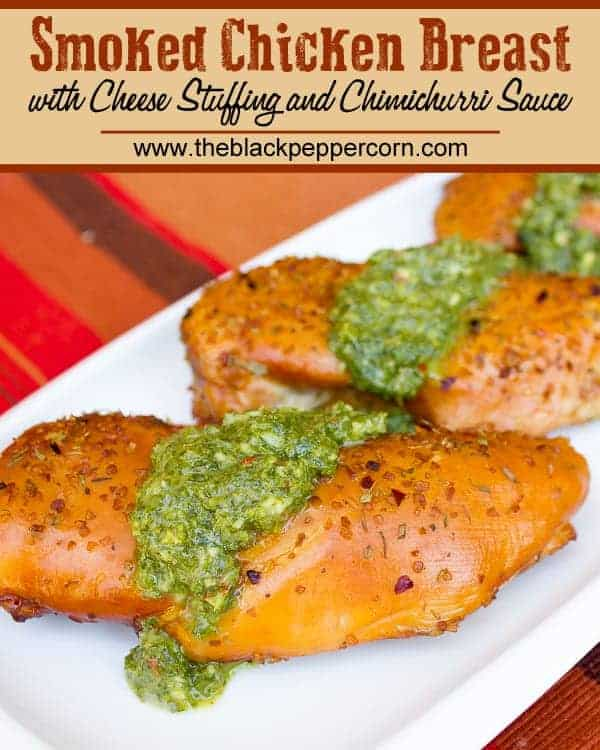 How to smoke a boneless skinless chicken breast with cheese stuffing and chimichurri sauce