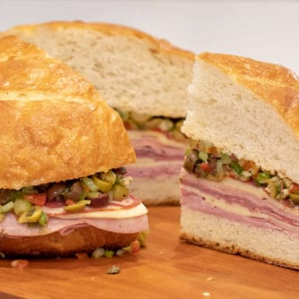How to make a classic New Orleans Muffuletta sandwich with olive tapenade recipe