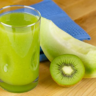 A refreshing fruit juice that is both sweet, from the honeydew melon, and tart from the kiwi. The fresh mint gives the juice a cool twist.