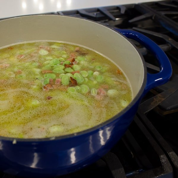 Slow simmered lima beans that are buttery and creamy just like you get at Cracker Barrel or other southern country restaurants. Homestyle with ham or bacon.