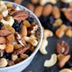 Healthy trail mix of dried fruit and nuts. Pecans, almonds and cashews combine with the dried blueberries and apricots to make a trail mix perfect for snacking!