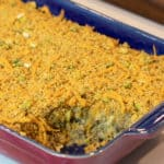 Easy baked cheesy eggplant casserole recipe. How to make with cream of mushroom soup and baked with cheddar cheese, bread crumbs and green onions.