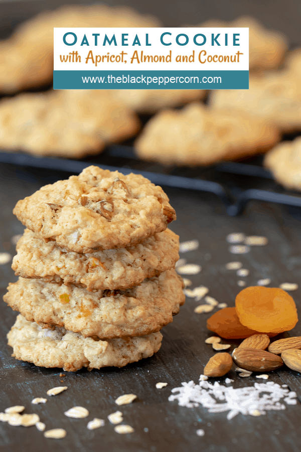 Chewy oatmeal cookie recipe with diced dried apricot, toasted almonds and coconut. Fruity tropical cookie that is a nice change from raisin or chocolate chips.