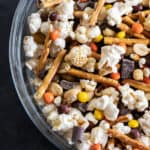 Make a snack mix at home with mini Reese's Pieces, chunks of dark chocolate, peanuts, pretzel sticks and sweet and salty popcorn. Great for movie night, road trips or an after school snack!