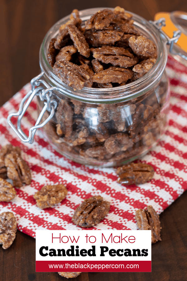 Candied pecans is super easy to make on the stovetop with this recipe. These taste just like praline pecans and made with brown sugar, cinnamon, salt and cayenne.