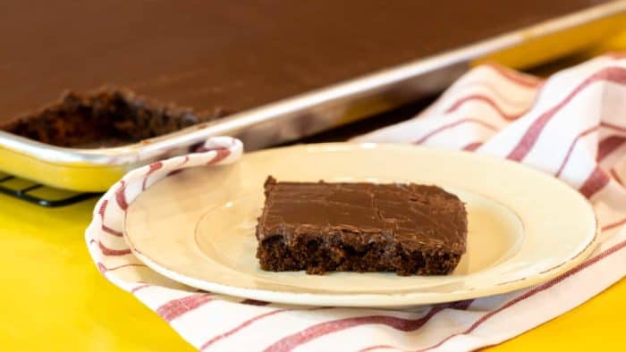 Easy Texas sheet cake recipe made in a 18x13 half sheet pan. Thin layer chocolate cake with fudge like icing. Moist cake made with butter, cocoa, sour cream.