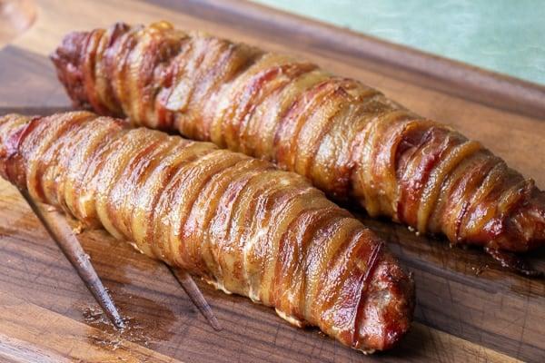 A delicious BBQ recipe of bacon wrapped smoked pork tenderloin with cajun seasoning.