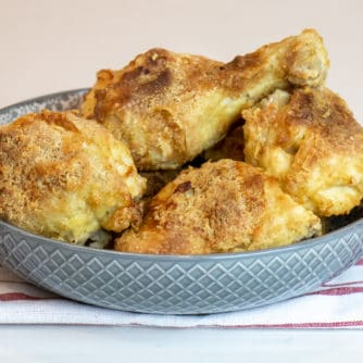 Instructions for how to make fried chicken in an air fryer. Works with toaster oven and other types of air fryer units like Phillips and Instant Pot.