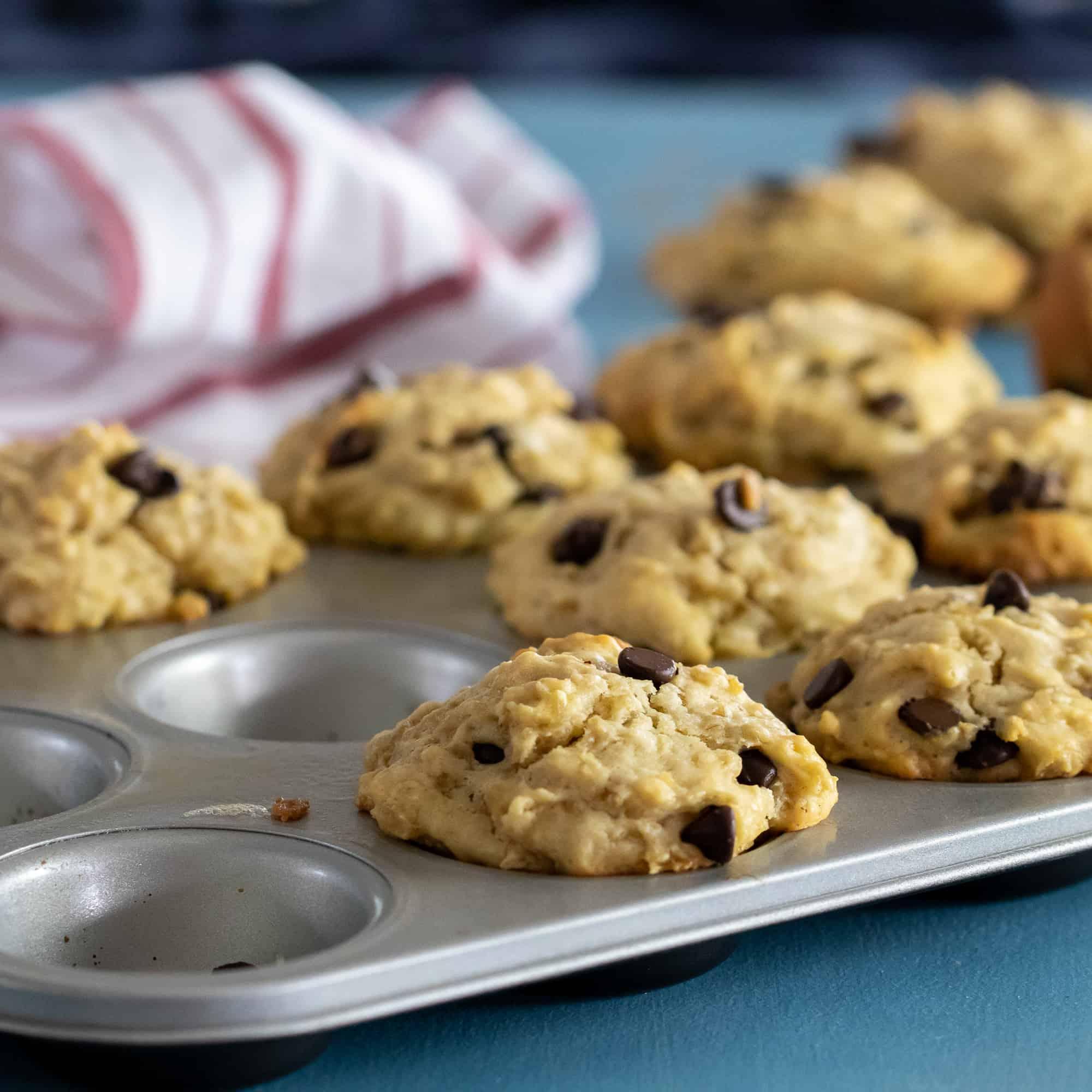 Muffins sitting in metal tin