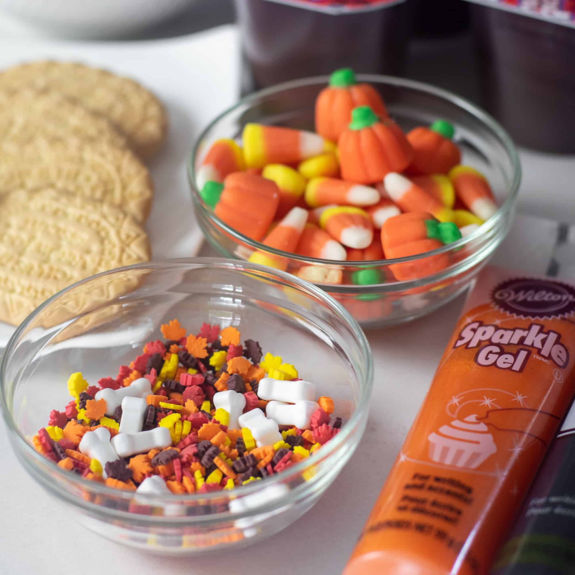 Halloween Pudding Cup Graveyard quins candy corn and pumpkin