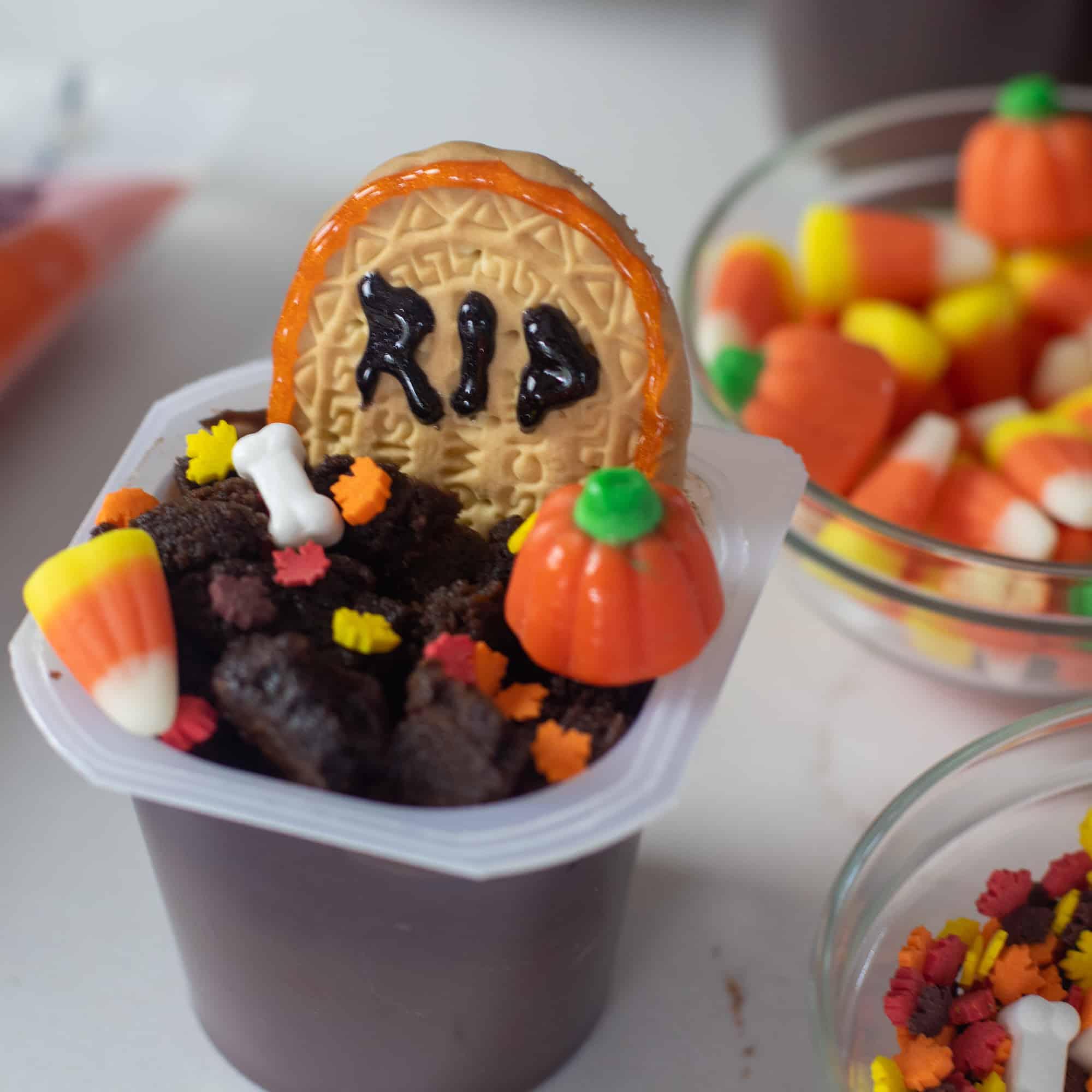 Halloween Pudding Cup Graveyard sprinkles