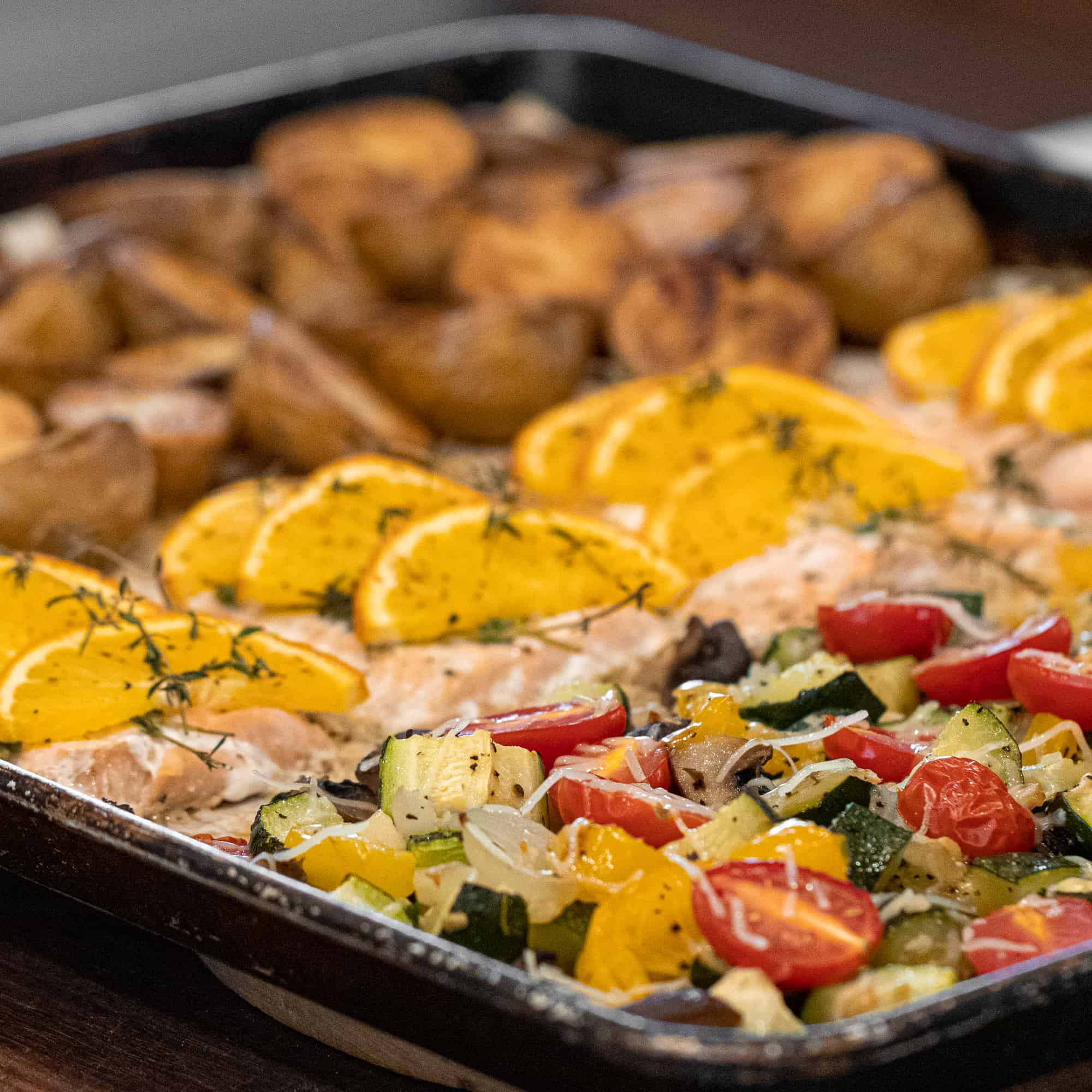 Sheet Pan Salmon With Potatoes And Mixed Vegetables