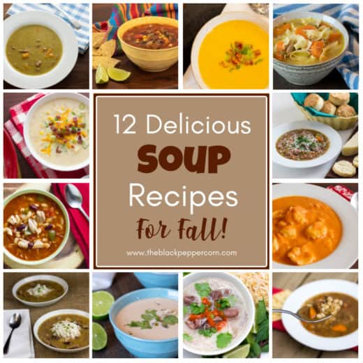 A collage of photos of bowls of soup with title describing 12 delicious soup recipes for fall.