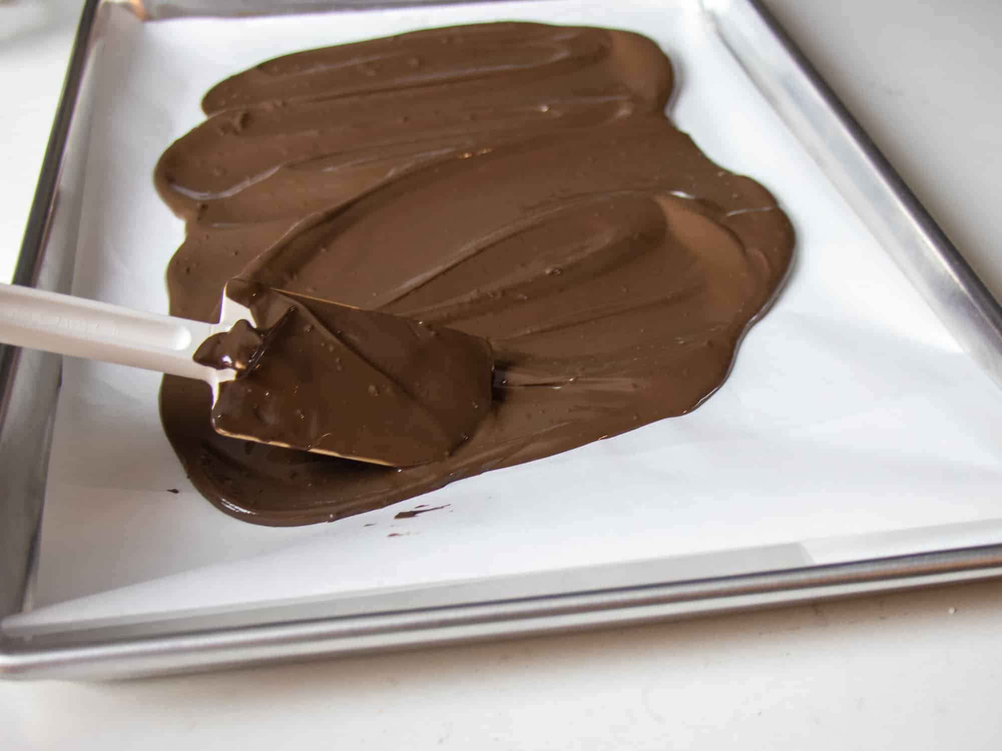 Spread the melted dark chocolate on a baking lined with parchment paper.
