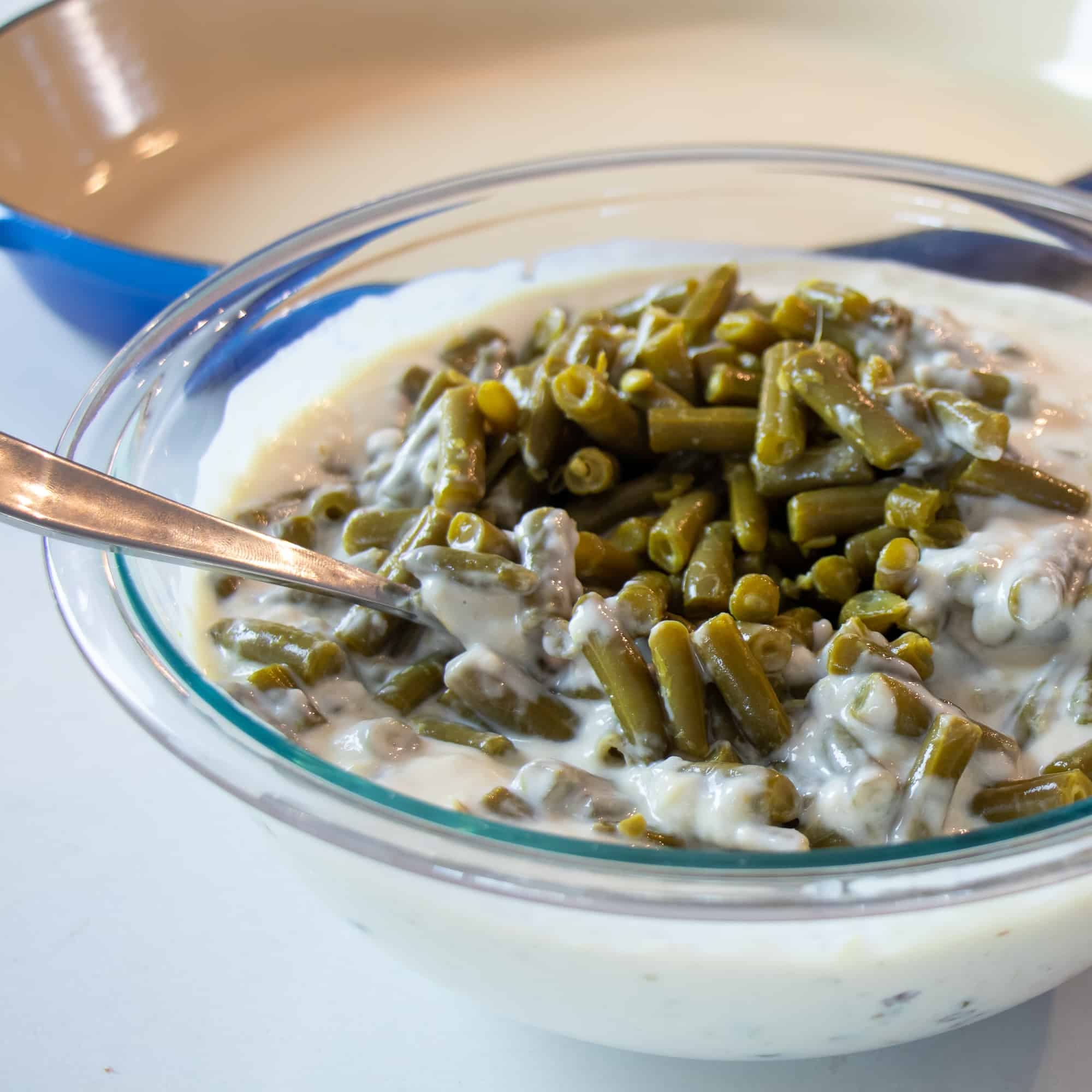 Mix the green beans in with the condensed soup and milk