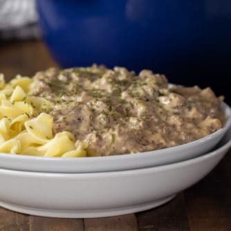 A bowl of creamy beef stroganoff on a bed of egg noodles.