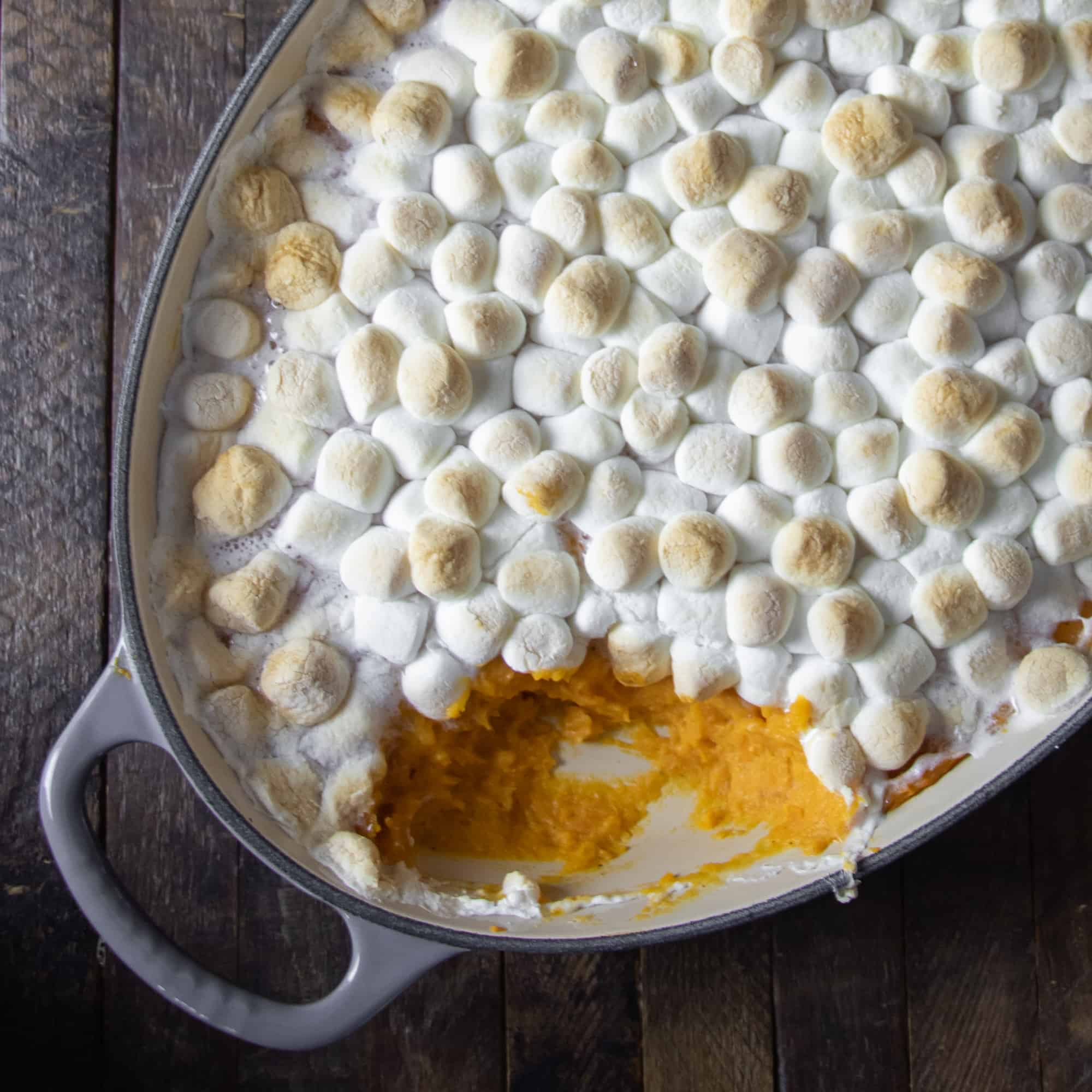 This sweet potato casserole is a classic Thanksgiving side dish. Creamy and buttery filling with toasted marshmallow topping.