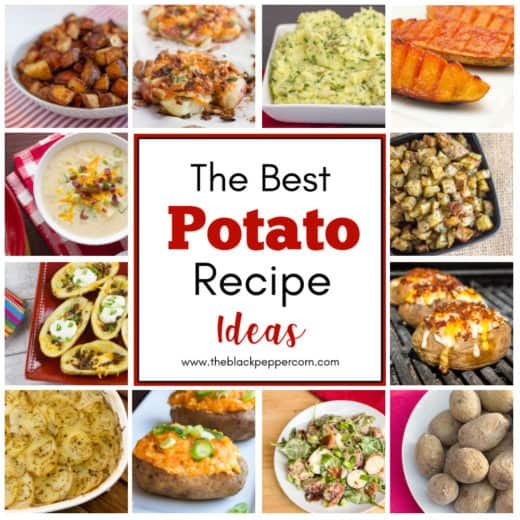 12 great potato recipe ideas that include baked, roasted, grilled boiled and so much more. These are some great side dish recipes using potatoes!