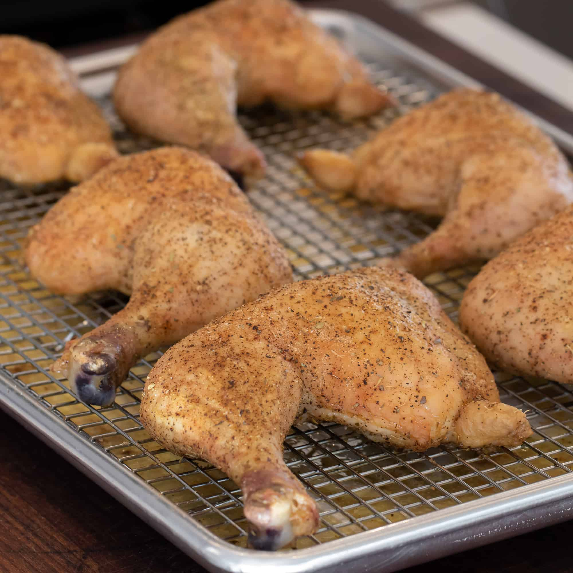Let the chicken rest on the bakers rack for a few minutes before serving.