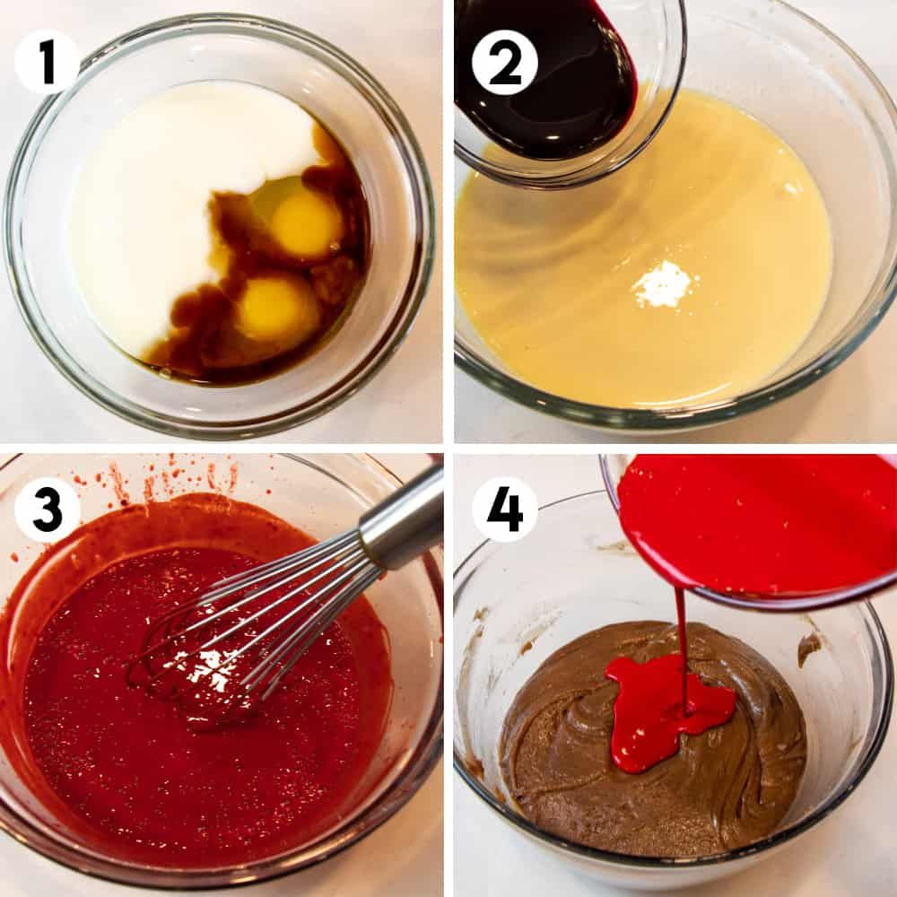 Four photos showing stages of mixing batter.