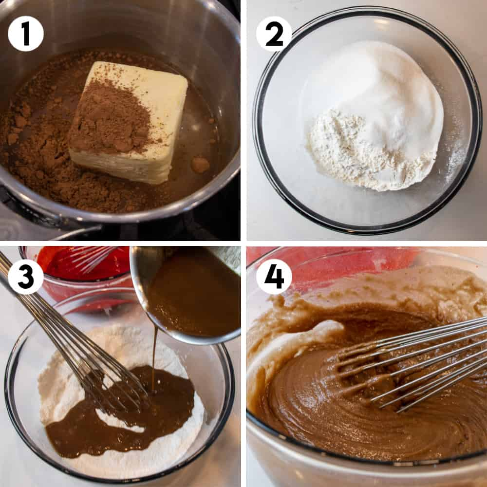 Step by step photos for how to make cake batter