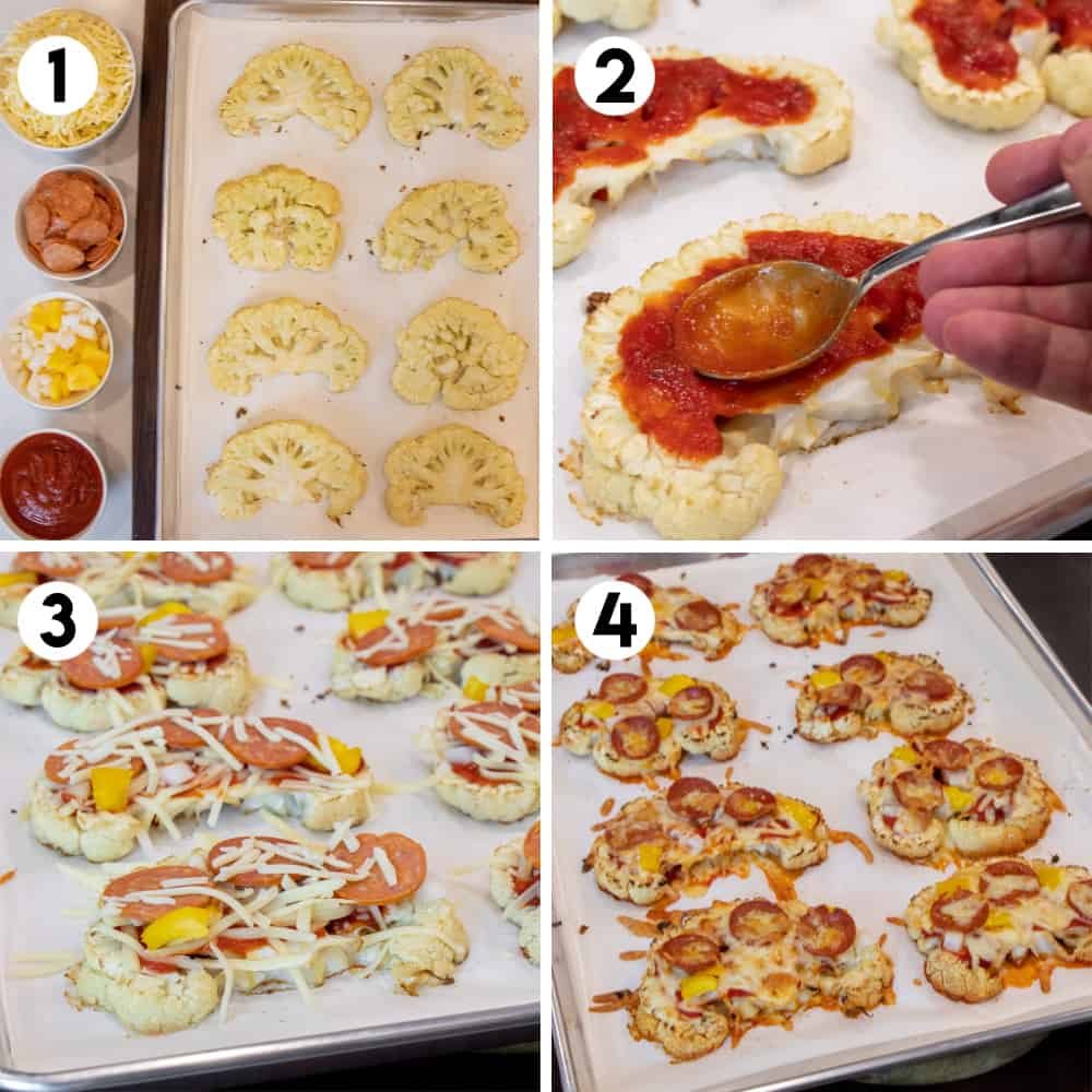 Step by step ways for how to assemble a cauliflower pizza