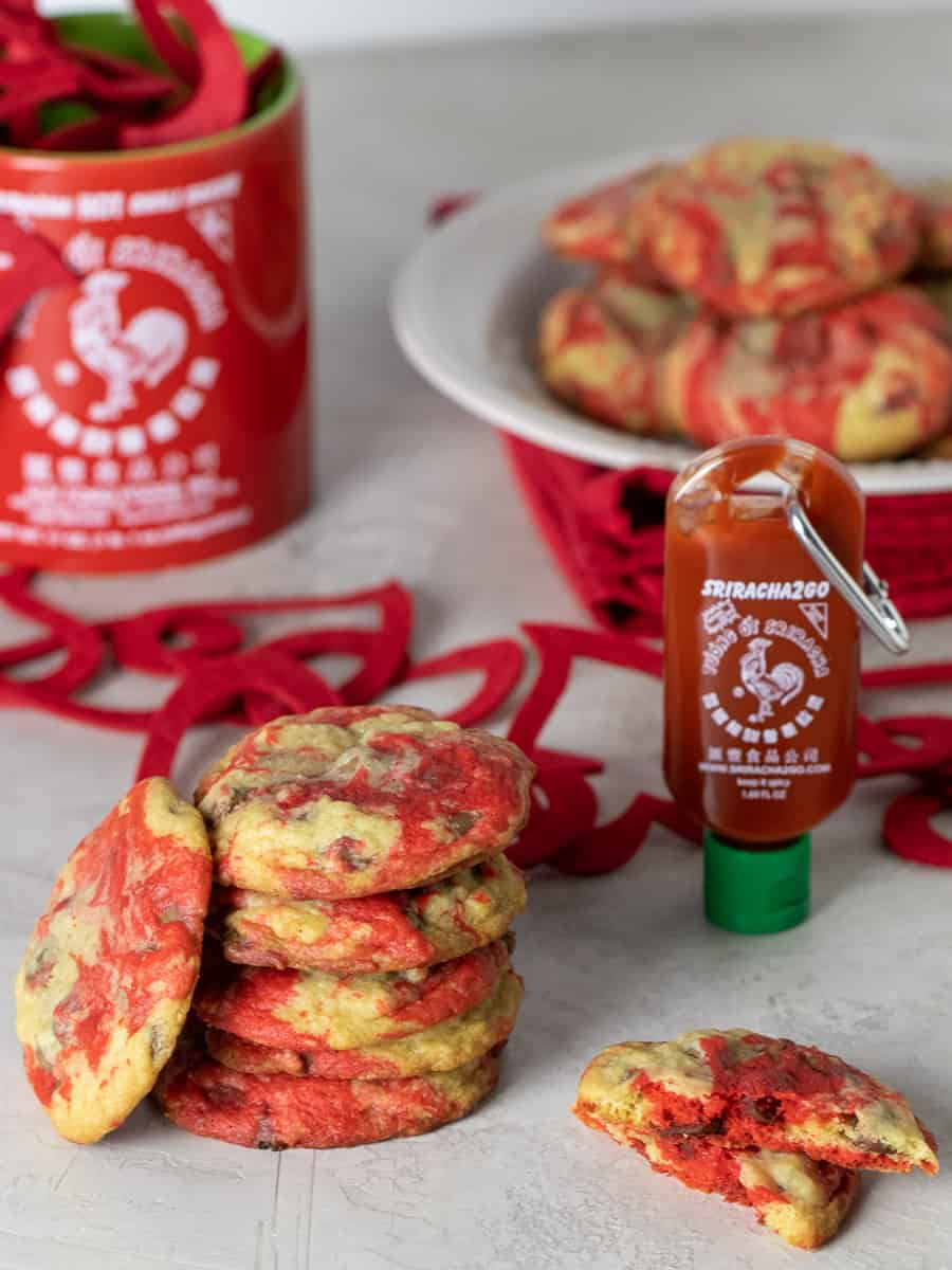 A tall image of sriracha chocolate chip cookies.