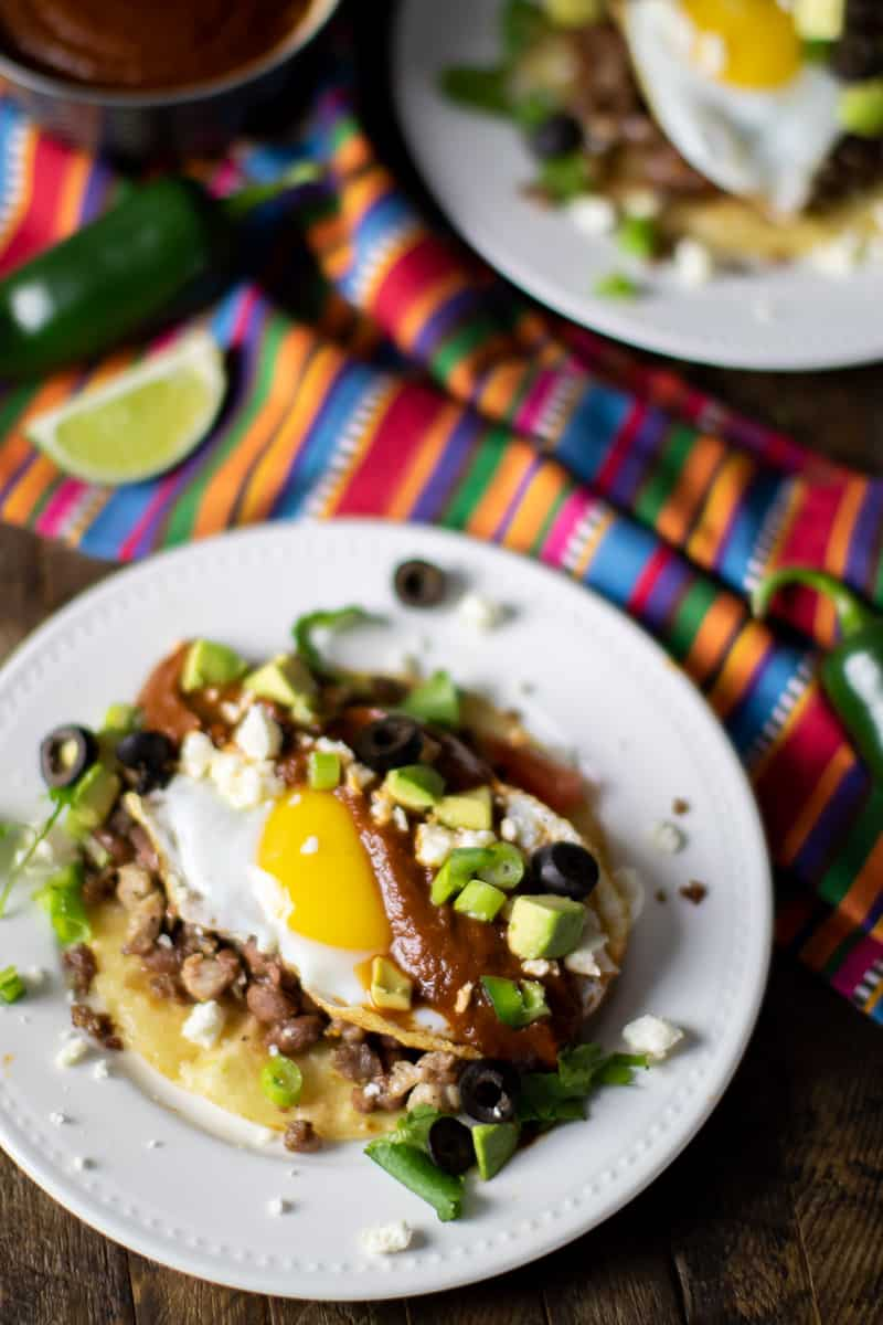 Overhead image of a Mexican breakfast dish.