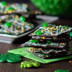 A stack of chocolates with a St. Patrick's Day holiday theme.