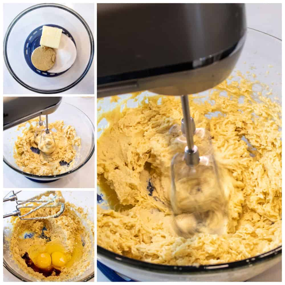 Images showing the steps for how to make cookie dough.