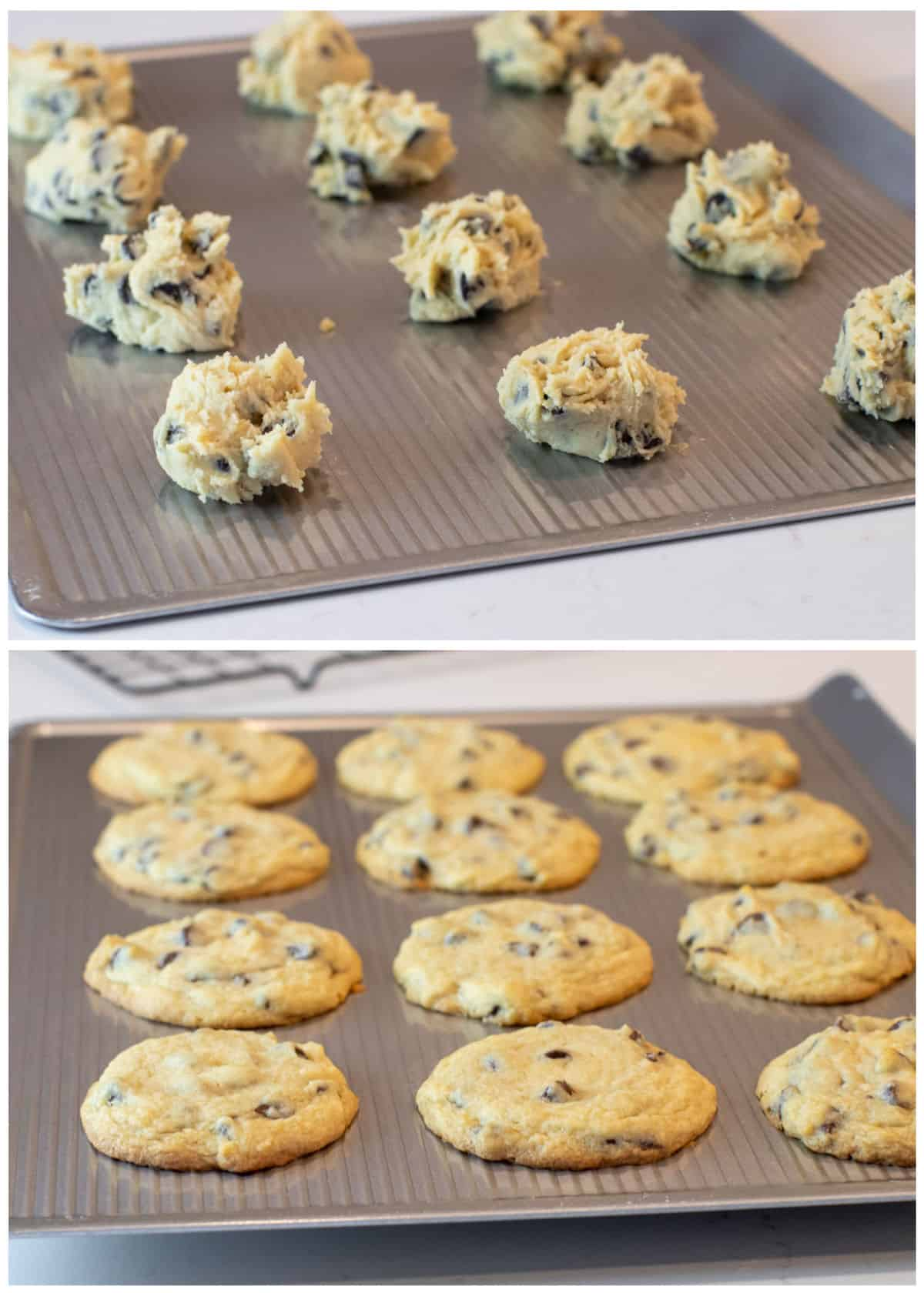 Before and after pictures of cookies on a sheet.