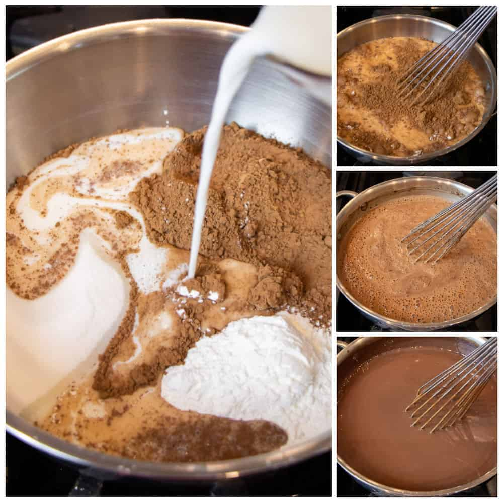 Mixing cocoa powder, sugar, corn starch in a saucepan with milk.