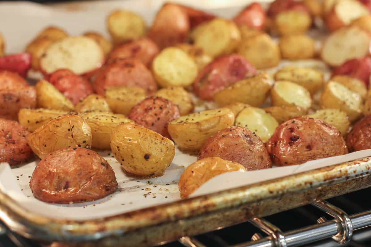 Potatoes in the oven.
