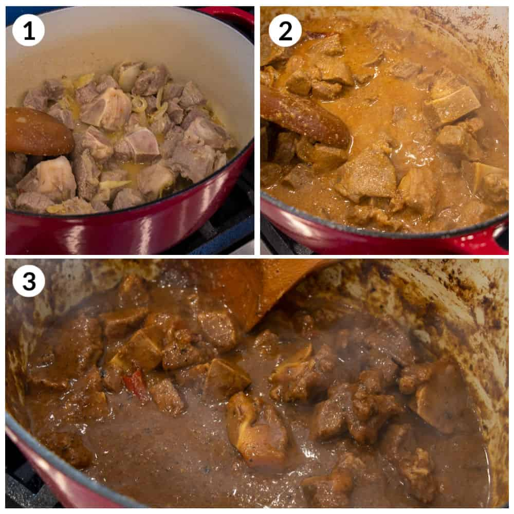 Step by Step photos for how to make the meat curry.