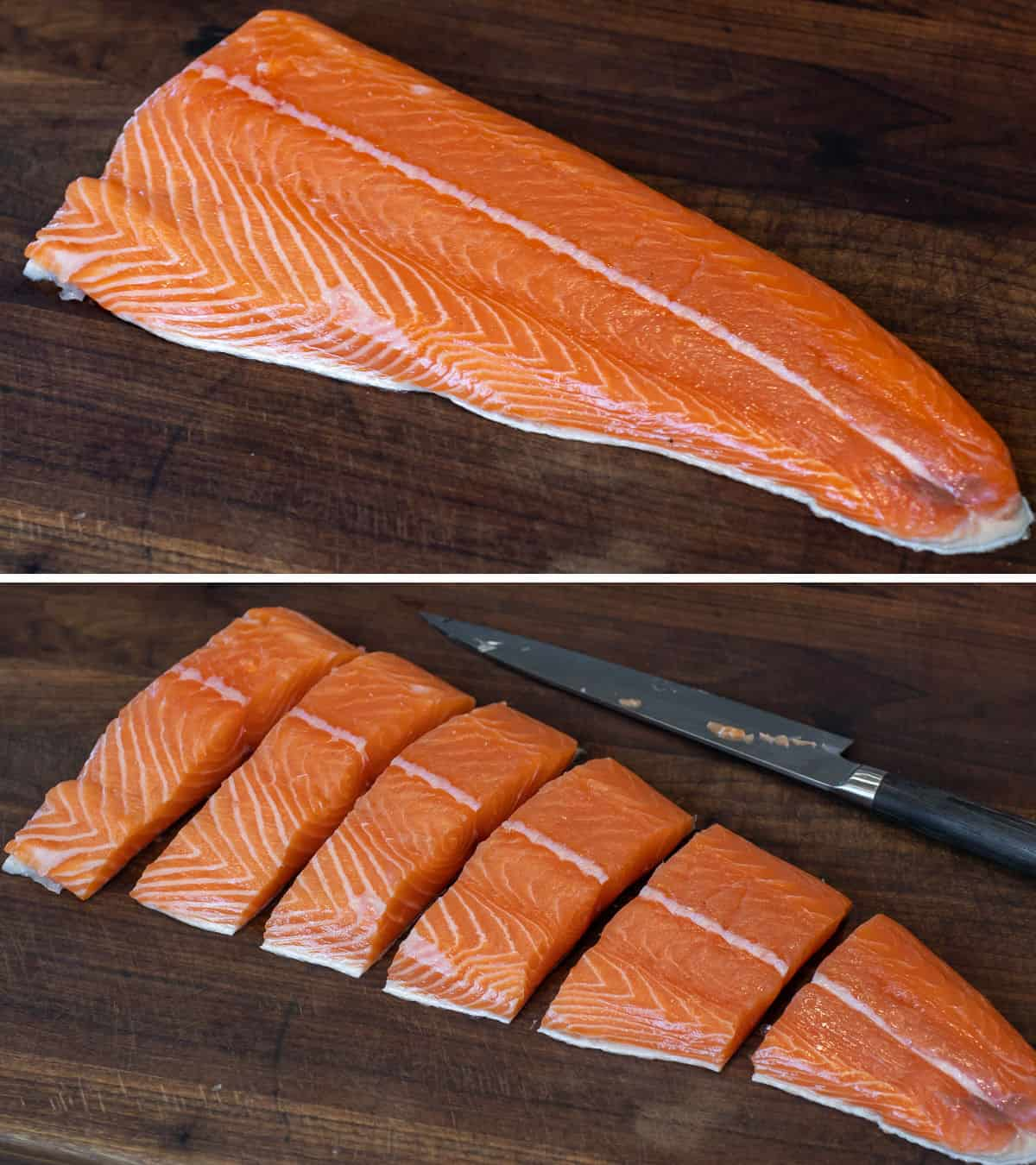 An image of a salmon fillet whole above and cut below.