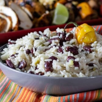 A bowl of rice and beans.