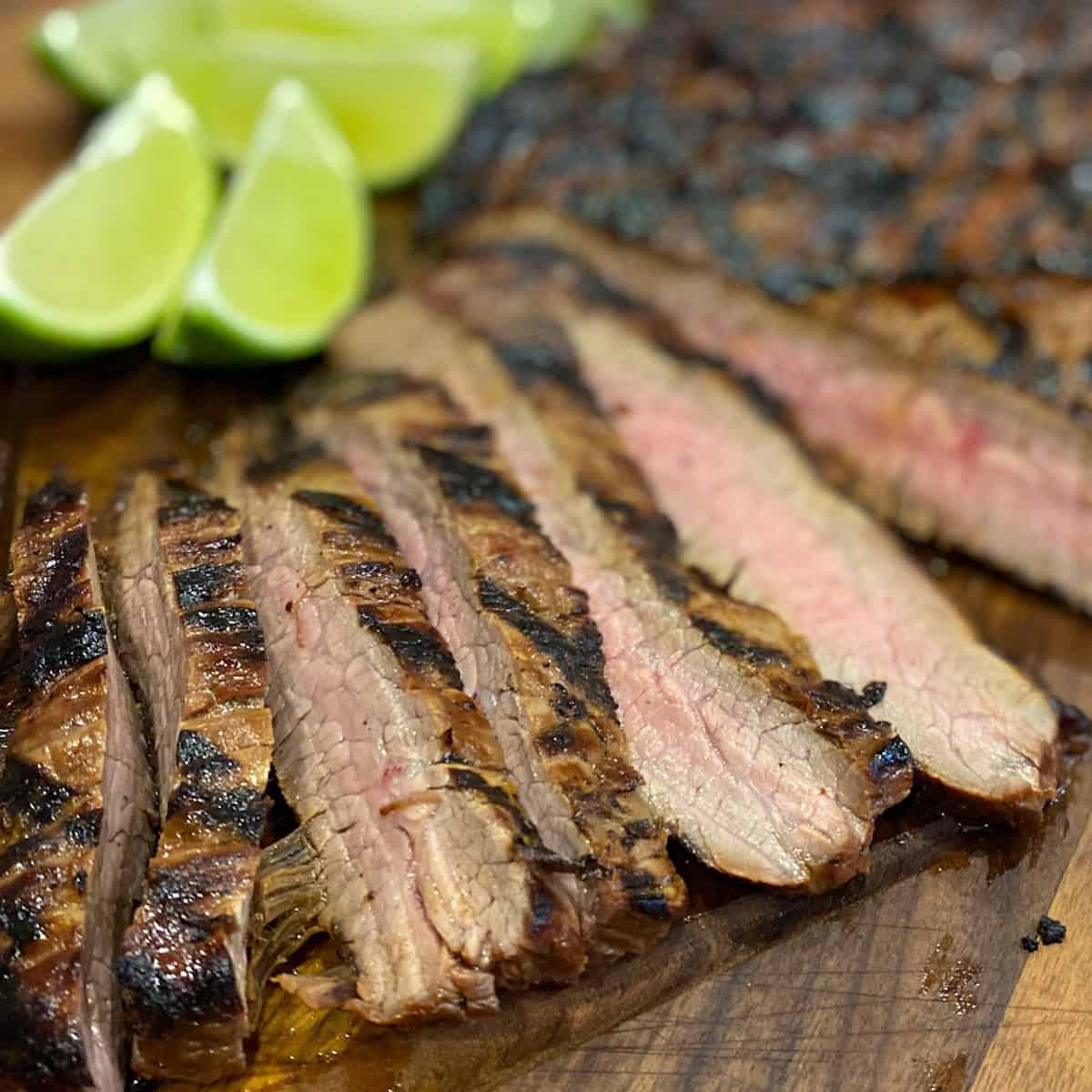 Close up of sliced flank steak.