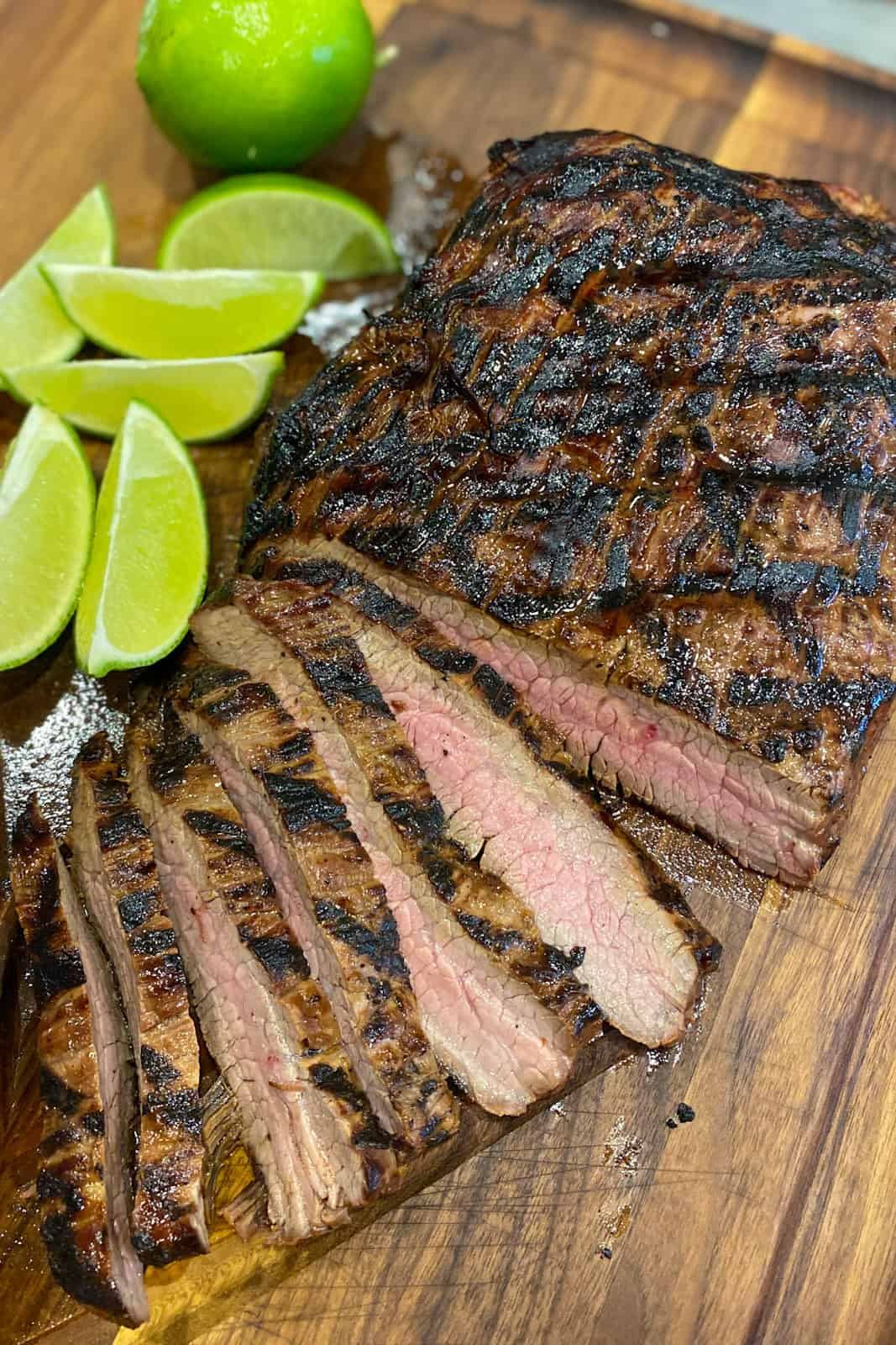 Overhead picture of grilled flank steak.