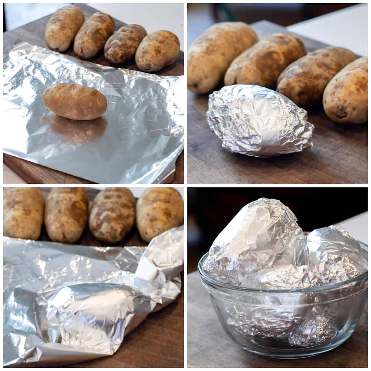 Four pictures showing how to wrap a whole potato in foil.