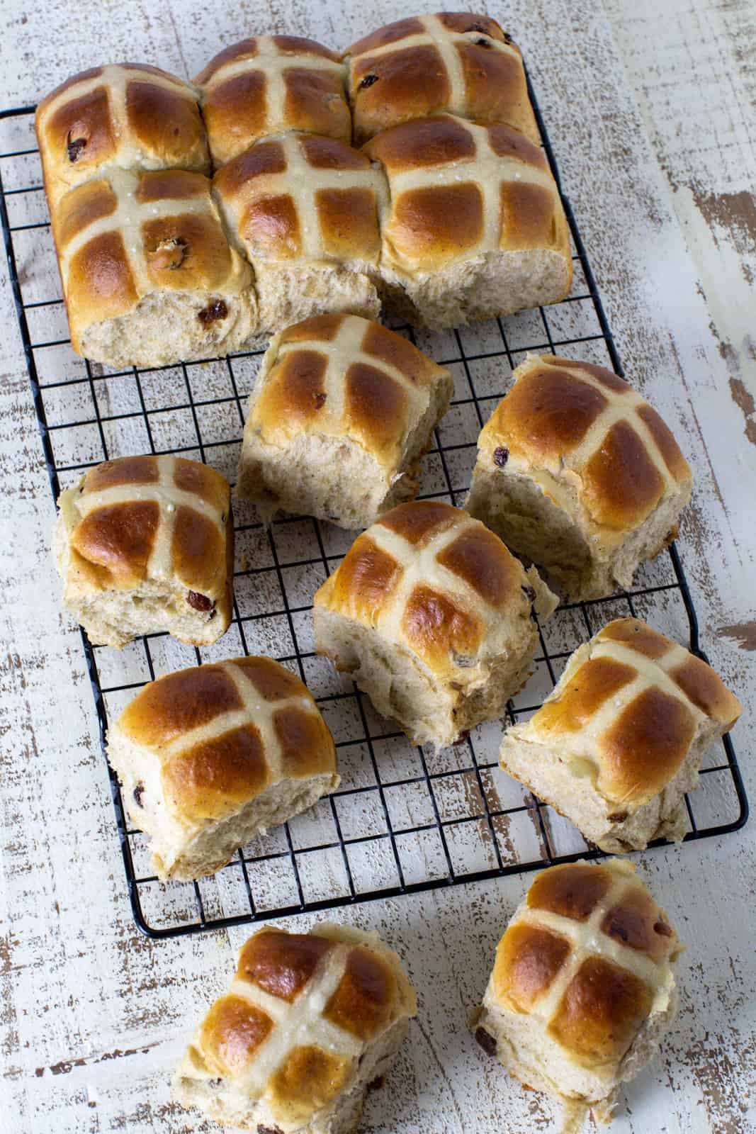 Overhead picture of hot cross buns.