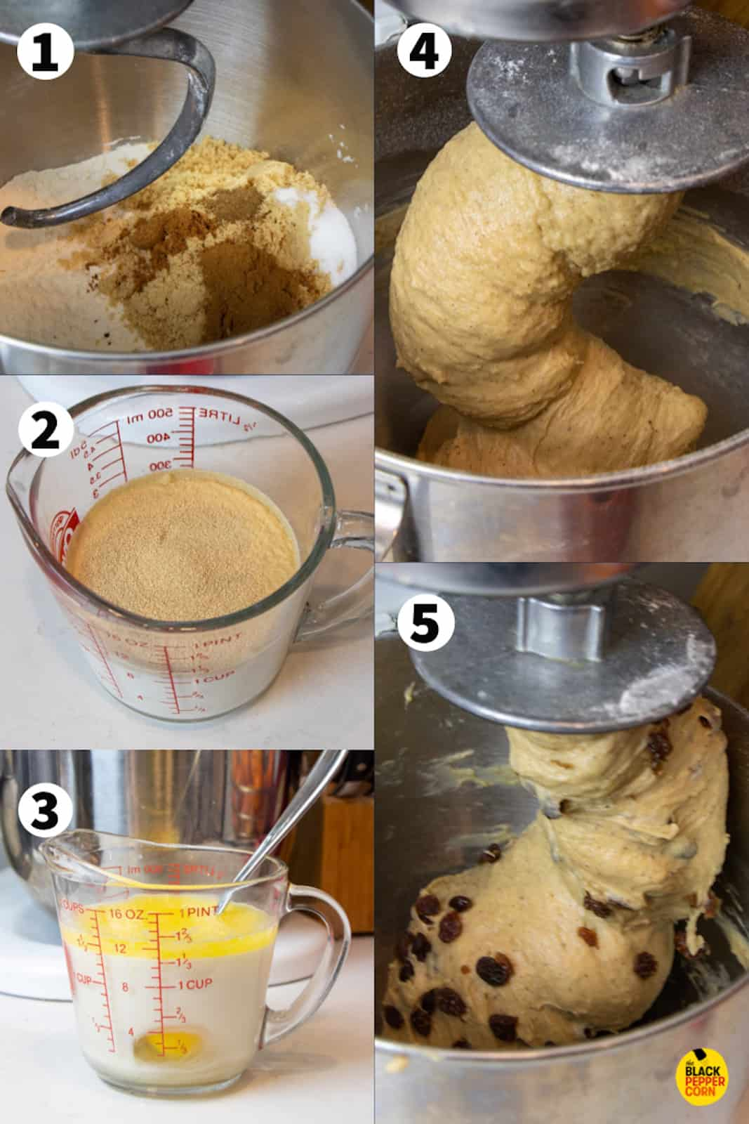 Step by step photos of dissolving yeast in warm milk and kneading with dry ingredients to make the dough.
