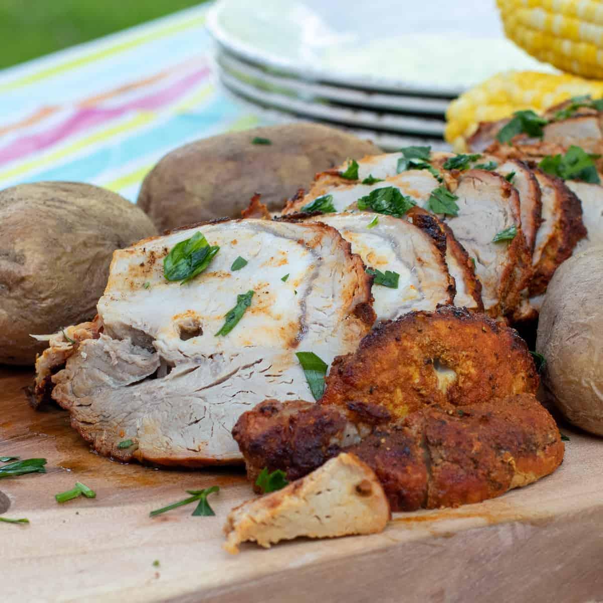A close up of sliced pork roast.