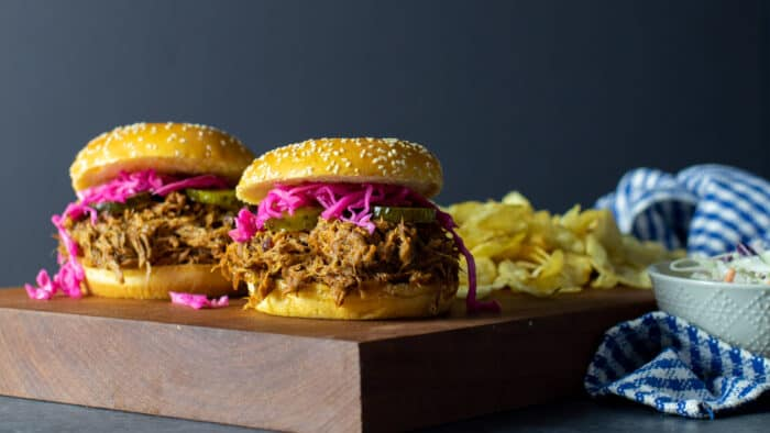 Pulled pork sandwiches with red cabbage slaw